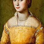 Alessandro Allori - Portrait of Eleanora d'Este, half-length, wearing a Gold Dress