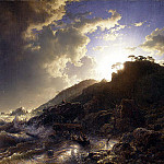 Andreas Achenbach - Sunset after a Storm on the Coast of Sicily
