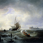 Andreas Achenbach - The Entrance to the Harbour at Hellevoetsluys