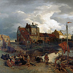 Andreas Achenbach - In the port of Ostend