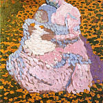 Cuno Amiet - Mother and child on a meadow