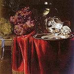Willem Van Aelst - A Still Life Of Grapes, A Roemer, A Silver Ewer And A Plate