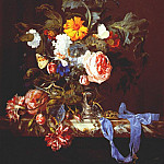 Willem Van Aelst - Vase of flowers with pocket watch