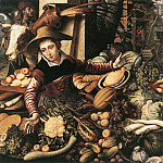 Pieter Aertsen (Lange Pier) - Market Woman With Vegetable Stall