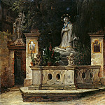 Ferdinand Weiss - Street view with statue of St. Charles Borromeo