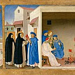 Coronation of the Virgin, predella – The Dispute of Saint Dominic and the Miracle of the Book, Fra Angelico