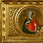 St Peter Martyr Altarpiece, predella – Saints Catherine of Alexandria and Agnes, Fra Angelico