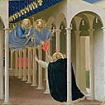 Coronation of the Virgin, predella – The Appearance of Saints Peter and Paul to St. Dominic, Fra Angelico