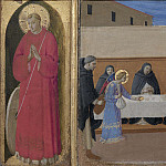 8 Cortona Polyptych, predella – St Vincent, The angels serve dinner to the friars, Fra Angelico