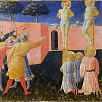 Annalena Altarpiece, predella – Saints Cosmas and Damian, Crucifixion, Fra Angelico