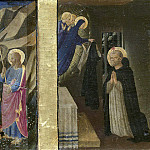 Fra Angelico - Cortona Altarpiece - Annunciation, predella - Death of the Virgin, The Virgin Consigns the Habit to St Dominic