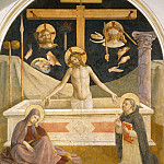 26 Christ in his tomb, with Mary a. Saint Dominic and the instruments of suffering, Fra Angelico