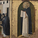 Fra Angelico - 9 Cortona Polyptych, predella - The death of St Dominic, St Thomas Aquinas