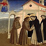 Fra Angelico - Compagnia di San Francesco Altarpiece, predella - The meeting of St. Dominic and St. Francis