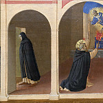 Fra Angelico - 5 Cortona Polyptych, predella - Meeting of St Dominic and St Francis, St Dominic receives the book