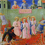 Annalena Altarpiece, predella – Saints Cosmas and Damian burning at the stake, Fra Angelico