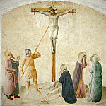 Fra Angelico - 42 Christ on the cross, w. Mary, Longinus a. Saints Dominic, Mark and Martha