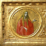 St Peter Martyr Altarpiece, predella – Man of Sorrows with saints Mary Magdalene and John the Evangelist, Fra Angelico