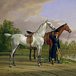 Albrecht Adam - Portrait of a man with two horses