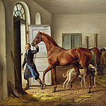 Albrecht Adam - Groom leading a horse from the stable
