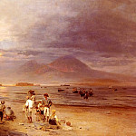 Oswald Achenbach - Fishermen With The Bay Of Naples And Vesuvius Beyond
