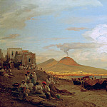View of the Bay of Naples with people on the beach