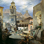 Johann Sperl - Market place of Amalfi