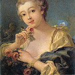 Francois Boucher - Young Woman with a Roses