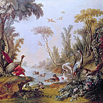 Francois Boucher - Lake with geese, storks, parrots and herons from the Salon of Gilles Demarteau
