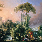 River landscape with ruins of ancient temple, Francois Boucher
