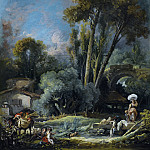 Francois Boucher - Pastoral Landscape With Washerwomen And A Couple On A River Bank