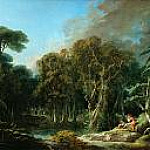 Francois Boucher - Forest landscape with soldiers