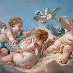 Putti making music, Francois Boucher