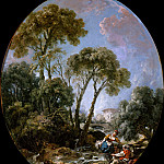 Francois Boucher - Landscape with Fisherman and a Young Woman