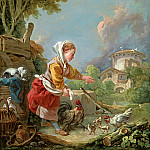 A young girl feeding poultry, Francois Boucher