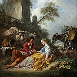 Francois Boucher - A pastoral landscape with a shepherd and shepherdess