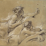 A Mermaid, two studies, Francois Boucher