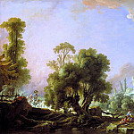 Francois Boucher - Idyllic Landscape with Woman Fishing