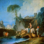 Francois Boucher - Crossing the bridge