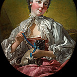 Francois Boucher - A young lady holding a pug dog