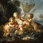 Putti as Fisherman, Francois Boucher