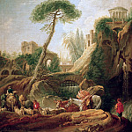 Francois Boucher - Phantastic landscape at Tivoli