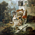 Francois Boucher - A man offering grapes to a girl