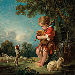 Francois Boucher - Cowherd playing the bagpipes