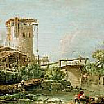 Landscape with tower and bridge, Francois Boucher