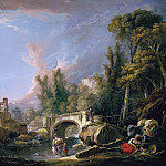 River landscape with ruins of the bridge, Francois Boucher