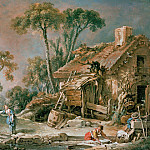 Landscape with farm house, Francois Boucher