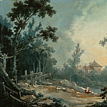 Francois Boucher - A Wooded Landscape with Buildings in the Distance