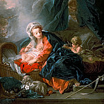 VIRGIN AND CHILD WITH THE LITTLE SAINT JOHN, Francois Boucher