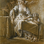 Francois Boucher - A Young Woman Asleep In A Chair Accompanied By A Small Child And A Cat, Being Tickled From Behind By A Young Man With A Straw